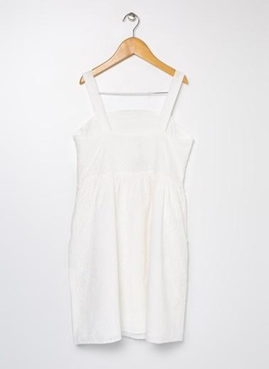 Koton Koton Belden Oturtmalı Kalın Askılı Elbise Beyaz